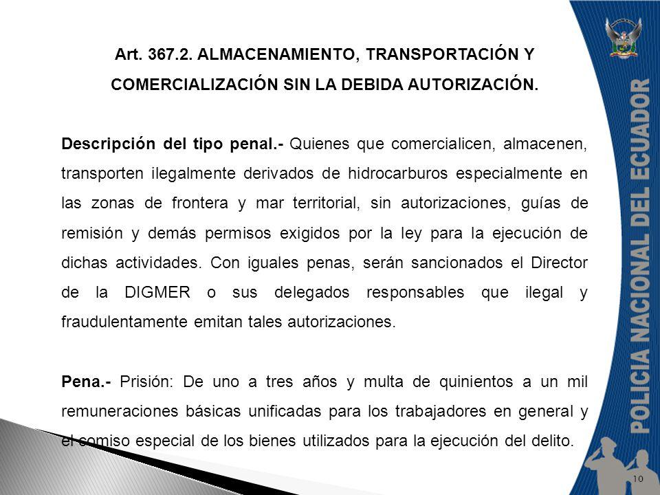 Art. 367.2. ALMACENAMIENTO, TRANSPORTACIÓN Y COMERCIALIZACIÓN SIN LA DEBIDA AUTORIZACIÓN.