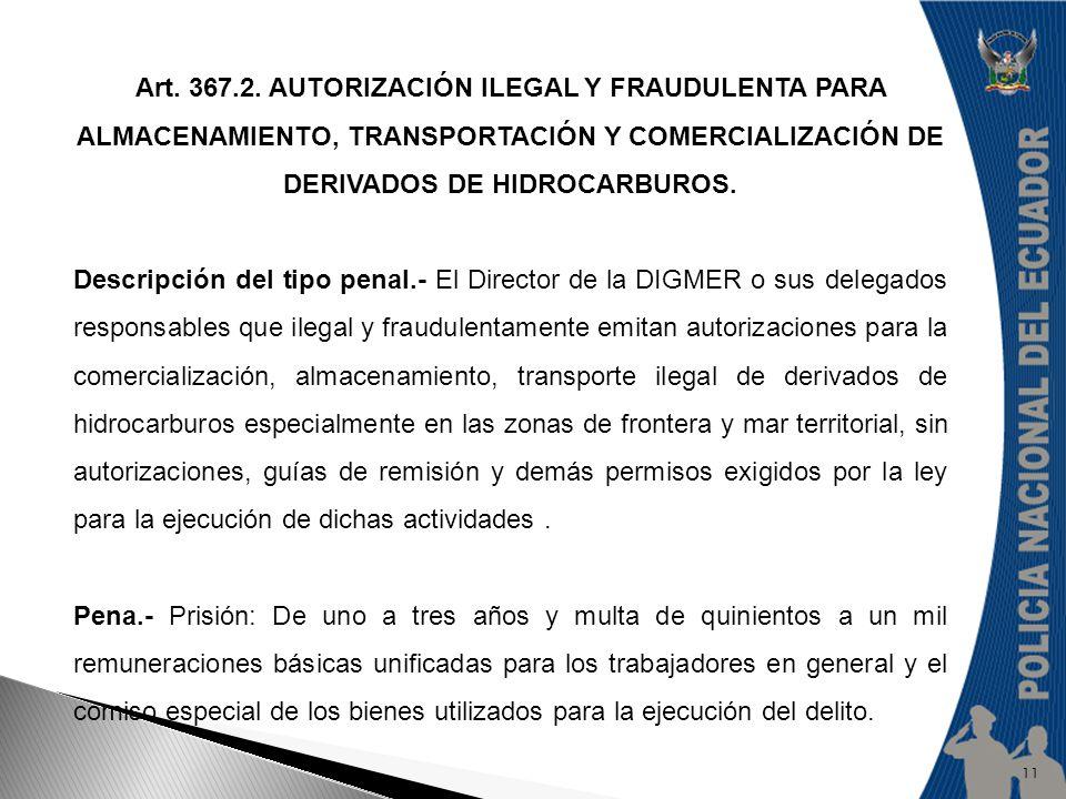 Art. 367.2. AUTORIZACIÓN ILEGAL Y FRAUDULENTA PARA ALMACENAMIENTO, TRANSPORTACIÓN Y COMERCIALIZACIÓN DE DERIVADOS DE HIDROCARBUROS.