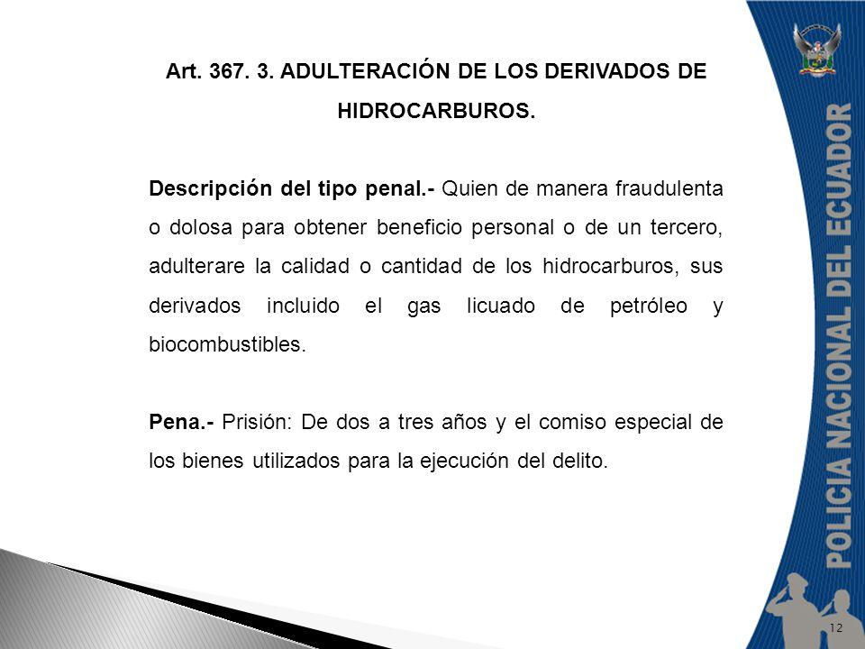 Art. 367. 3. ADULTERACIÓN DE LOS DERIVADOS DE HIDROCARBUROS.
