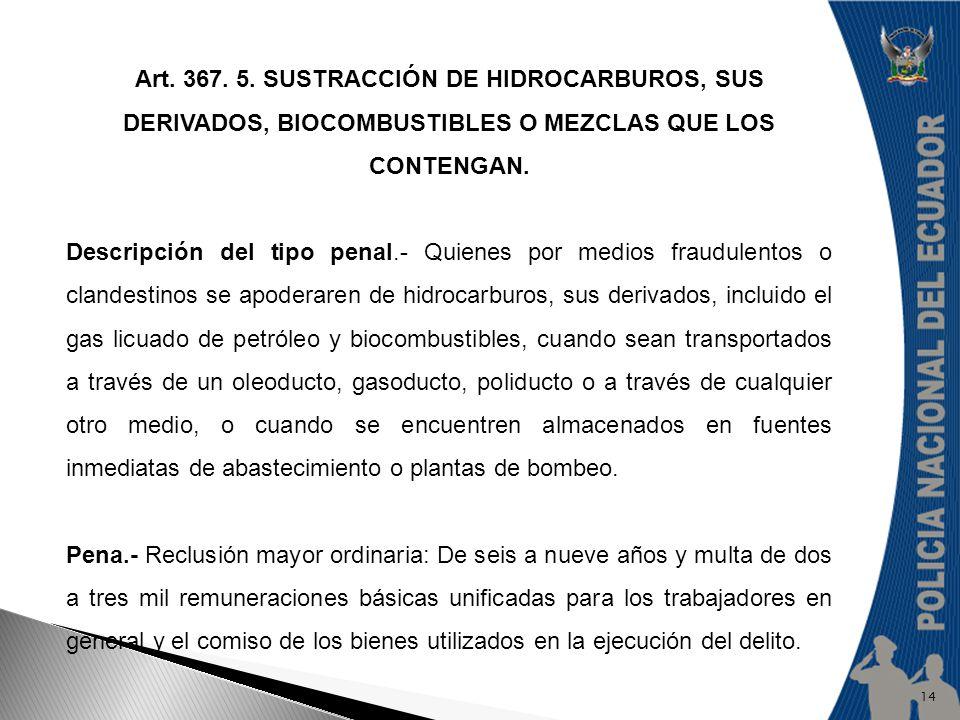 Art. 367. 5. SUSTRACCIÓN DE HIDROCARBUROS, SUS DERIVADOS, BIOCOMBUSTIBLES O MEZCLAS QUE LOS CONTENGAN.