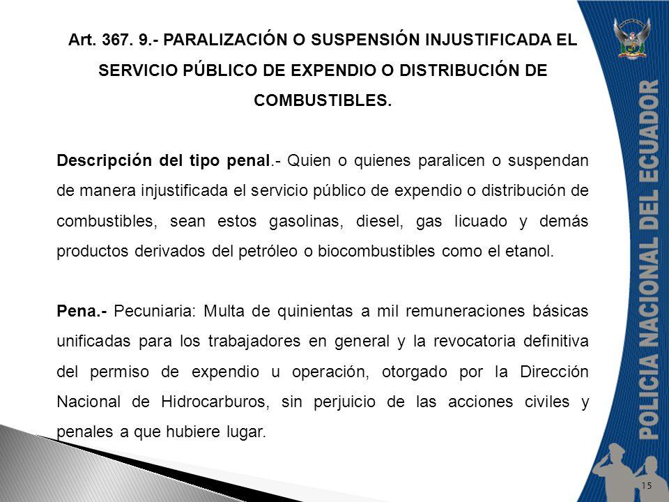 Art. 367. 9.- PARALIZACIÓN O SUSPENSIÓN INJUSTIFICADA EL SERVICIO PÚBLICO DE EXPENDIO O DISTRIBUCIÓN DE COMBUSTIBLES.