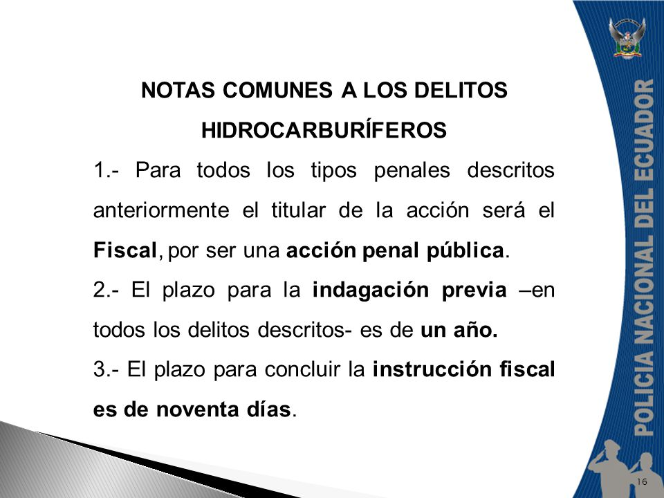 NOTAS COMUNES A LOS DELITOS HIDROCARBURÍFEROS