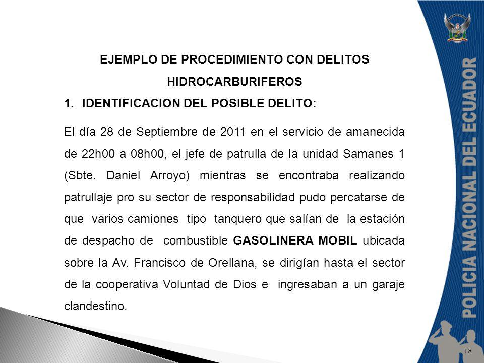 EJEMPLO DE PROCEDIMIENTO CON DELITOS HIDROCARBURIFEROS