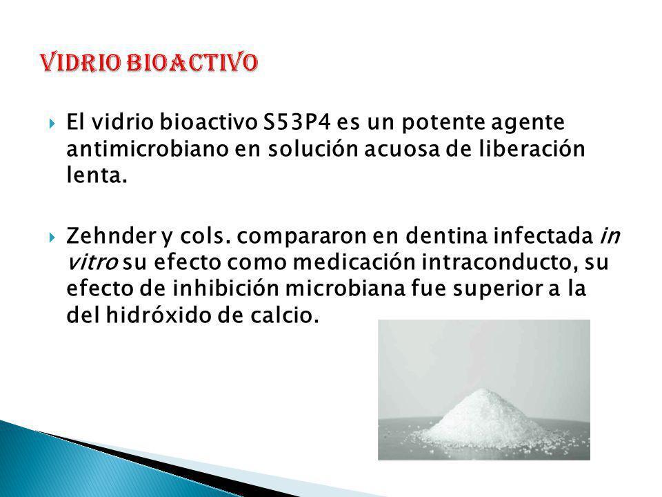 VIDRIO BIOACTIVO El vidrio bioactivo S53P4 es un potente agente antimicrobiano en solución acuosa de liberación lenta.