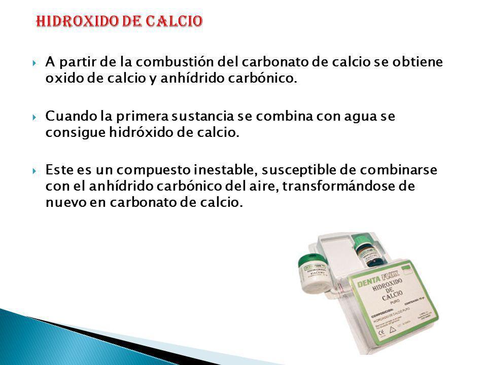 HIDROXIDO DE CALCIO A partir de la combustión del carbonato de calcio se obtiene oxido de calcio y anhídrido carbónico.