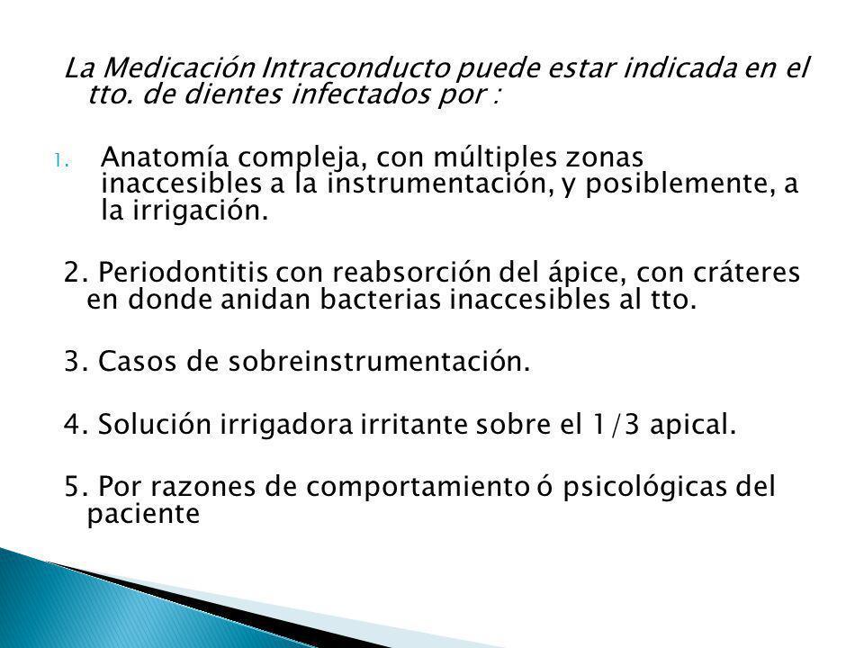 La Medicación Intraconducto puede estar indicada en el tto