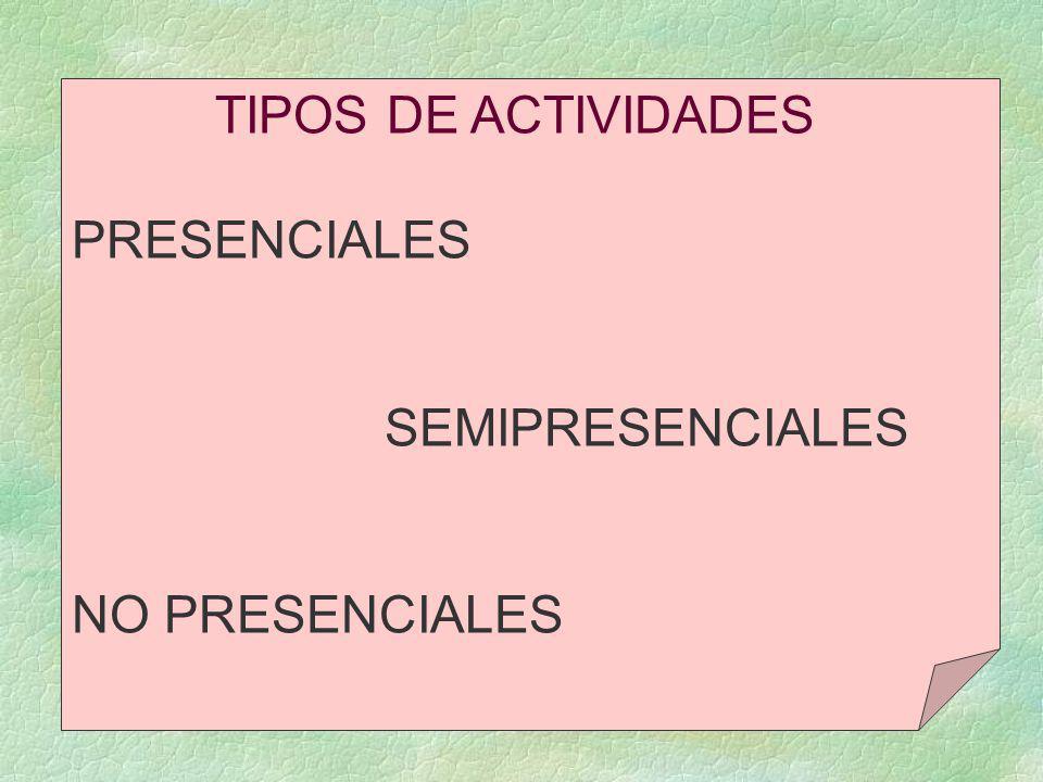 TIPOS DE ACTIVIDADES PRESENCIALES SEMIPRESENCIALES NO PRESENCIALES
