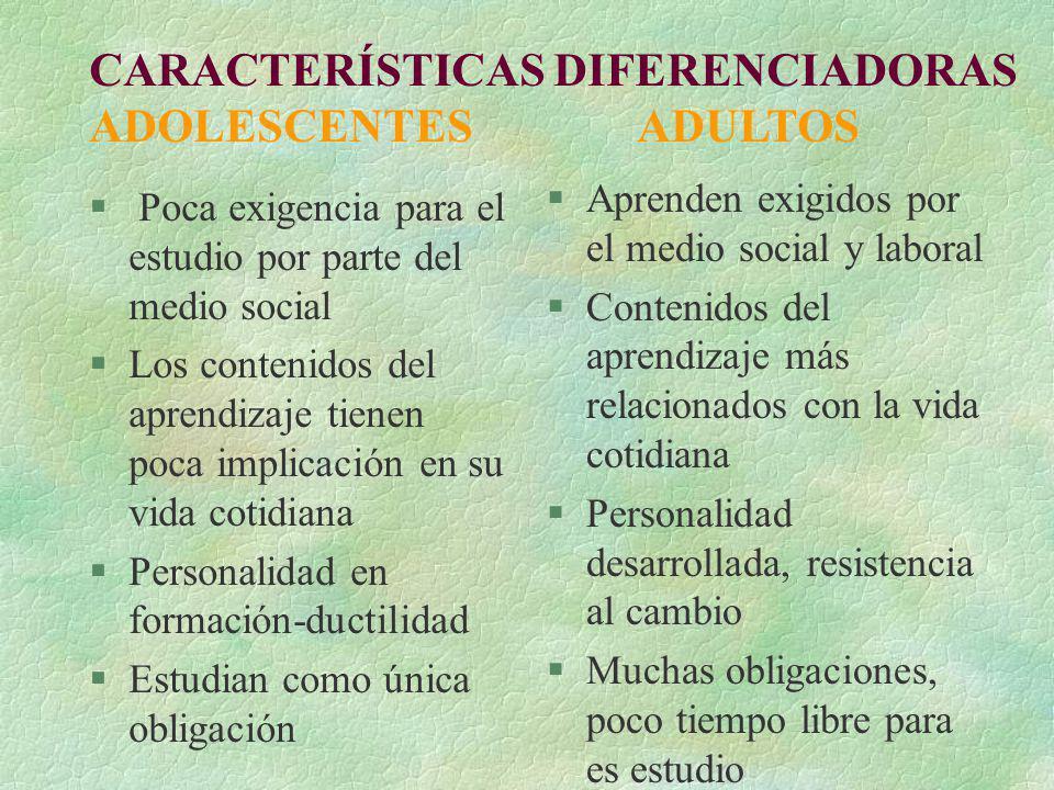 CARACTERÍSTICAS DIFERENCIADORAS ADOLESCENTES ADULTOS