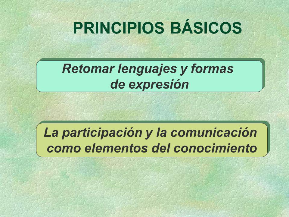 PRINCIPIOS BÁSICOS Retomar lenguajes y formas de expresión