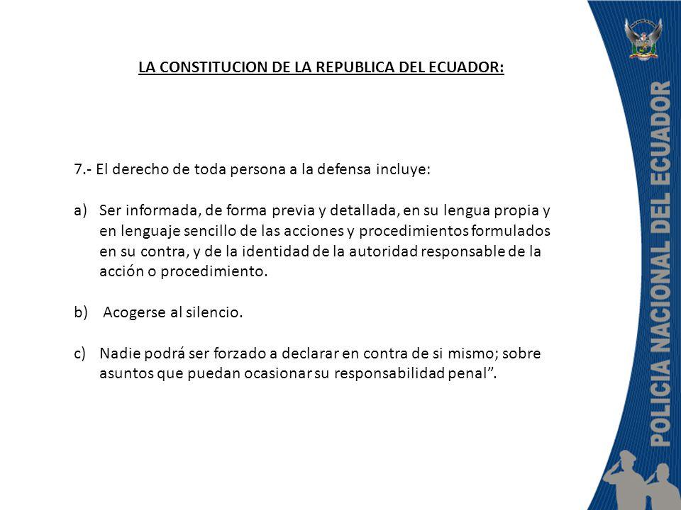 LA CONSTITUCION DE LA REPUBLICA DEL ECUADOR: