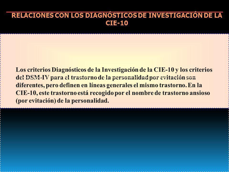 RELACIONES CON LOS DIAGNÓSTICOS DE INVESTIGACIÓN DE LA