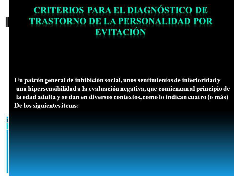 Criterios para el diagnóstico de Trastorno de la personalidad por evitación