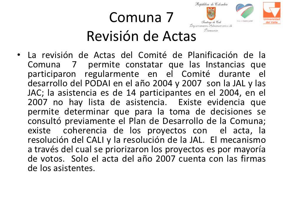 Comuna 7 Revisión de Actas