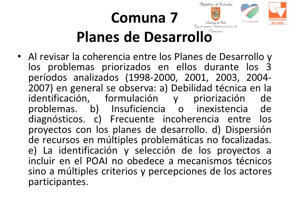 Comuna 7 Planes de Desarrollo