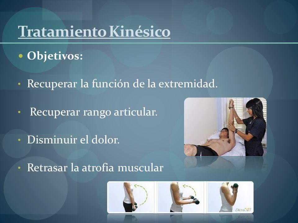 Tratamiento Kinésico Objetivos: Recuperar la función de la extremidad.