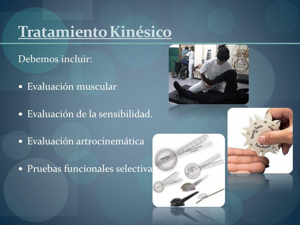 Tratamiento Kinésico Debemos incluir: Evaluación muscular