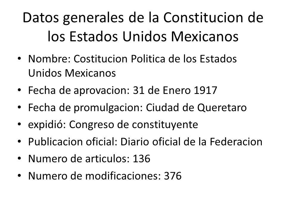 Datos generales de la Constitucion de los Estados Unidos Mexicanos