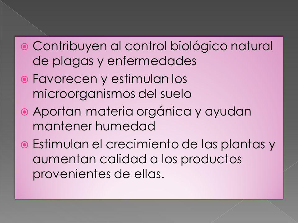 Contribuyen al control biológico natural de plagas y enfermedades