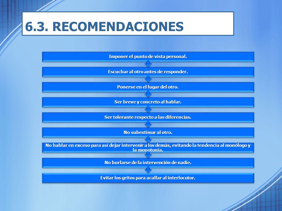 6.3. RECOMENDACIONES Imponer el punto de vista personal.