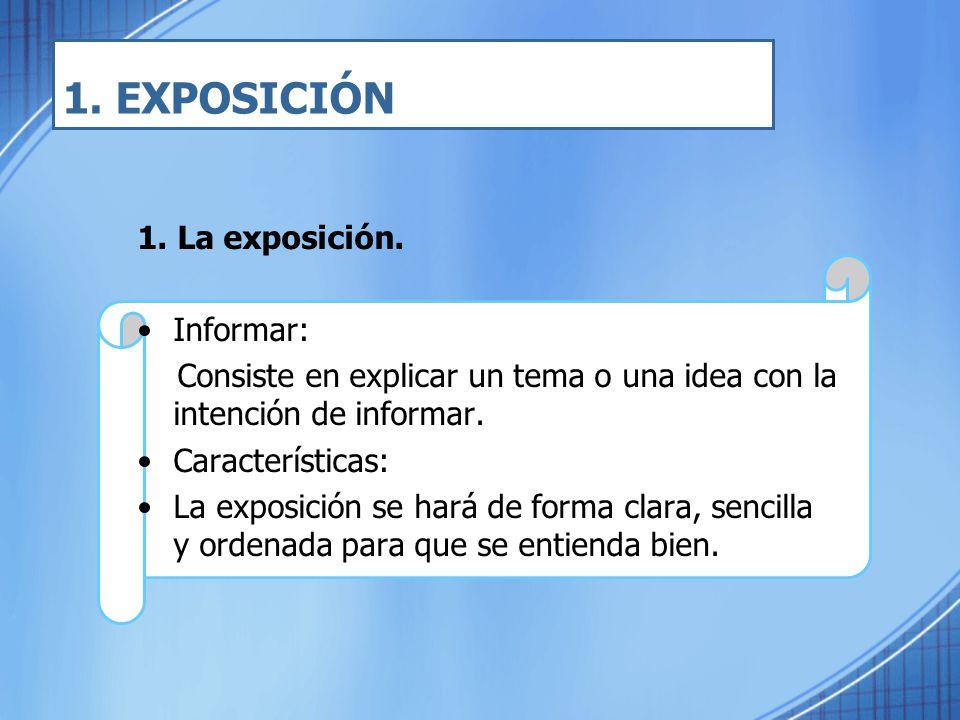 1. EXPOSICIÓN 1. La exposición. Informar: