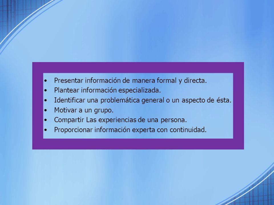 Presentar información de manera formal y directa.