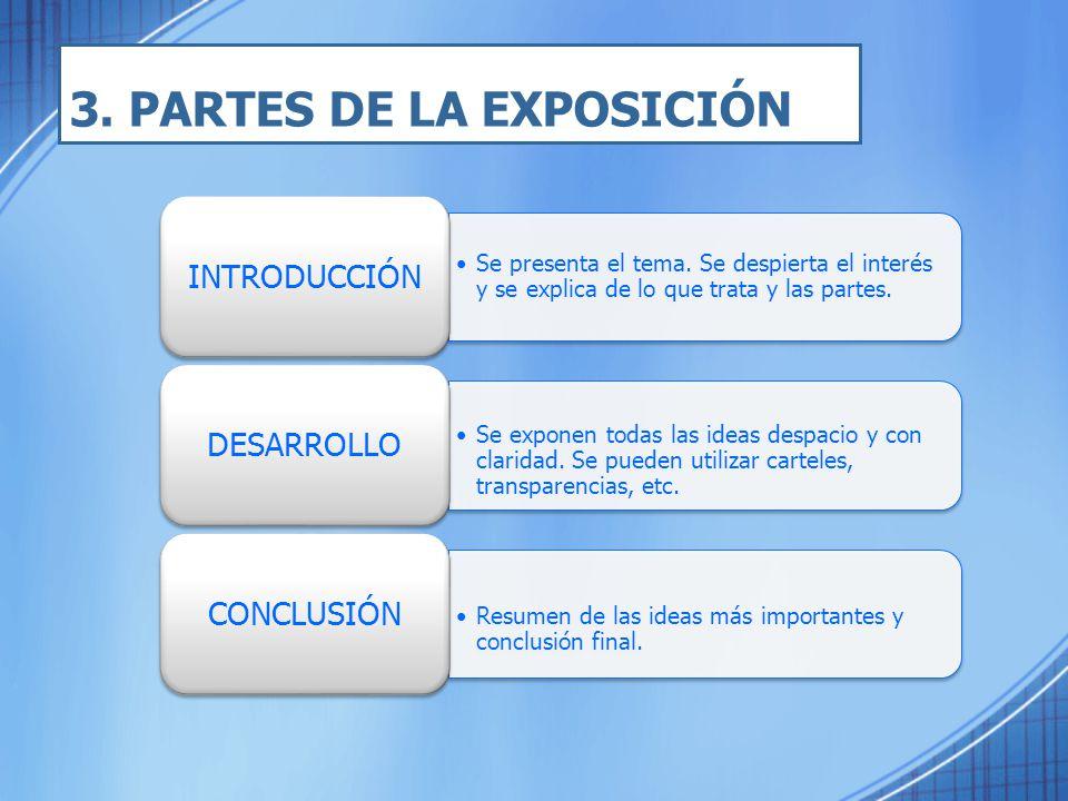 3. PARTES DE LA EXPOSICIÓN