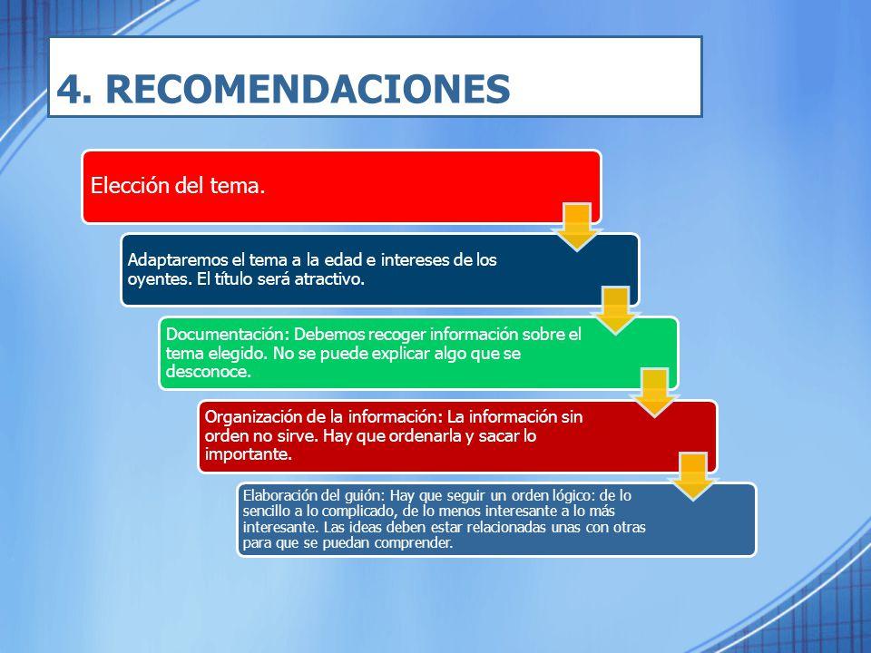 4. RECOMENDACIONES Elección del tema.