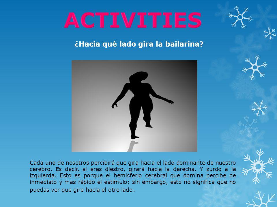 ACTIVITIES ¿Hacia qué lado gira la bailarina