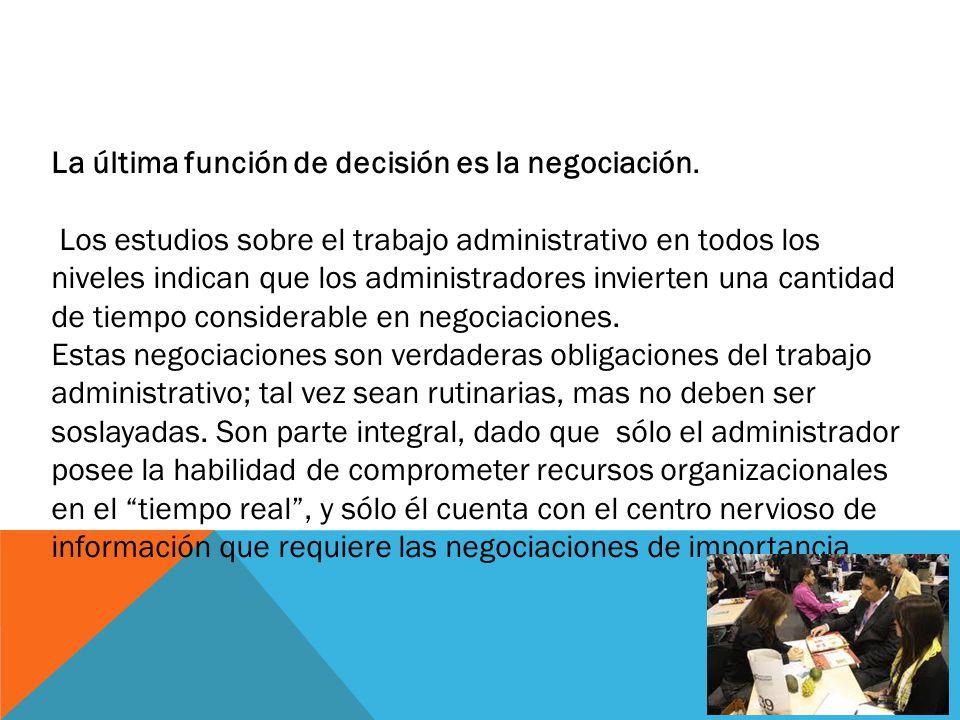La última función de decisión es la negociación.