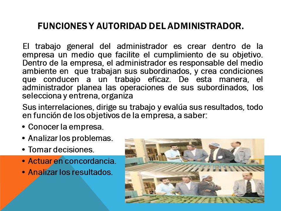 Funciones y Autoridad del Administrador.