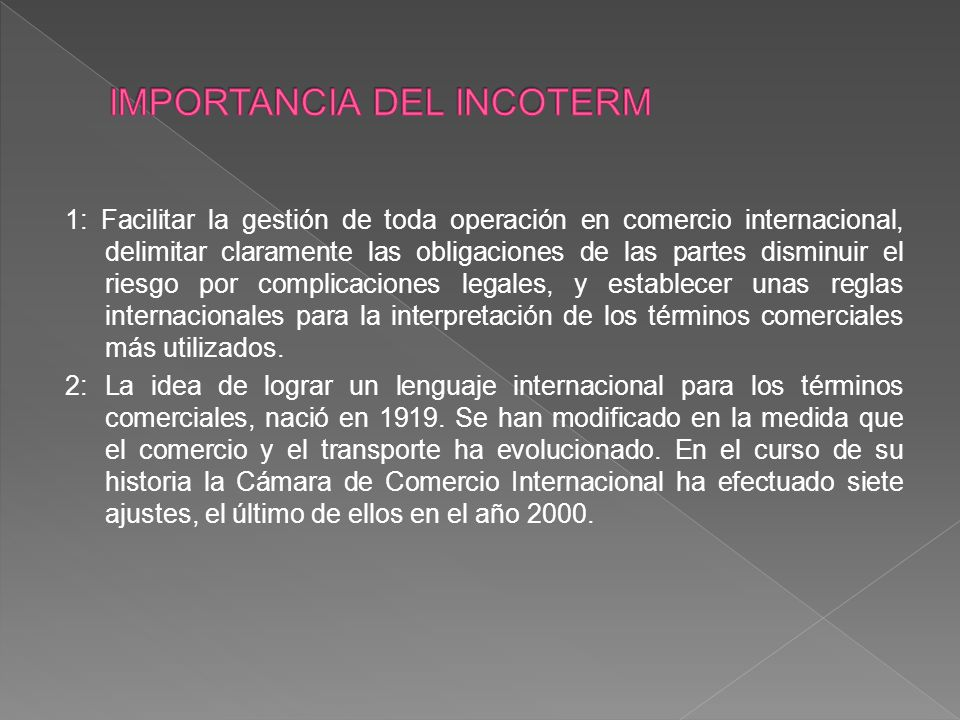 IMPORTANCIA DEL INCOTERM