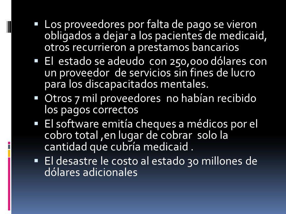 Los proveedores por falta de pago se vieron obligados a dejar a los pacientes de medicaid, otros recurrieron a prestamos bancarios