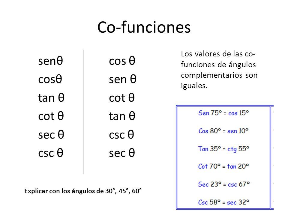 Co-funciones senθ cos θ cosθ sen θ tan θ cot θ sec θ csc θ
