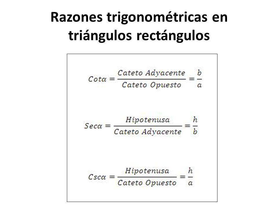 Razones trigonométricas en triángulos rectángulos