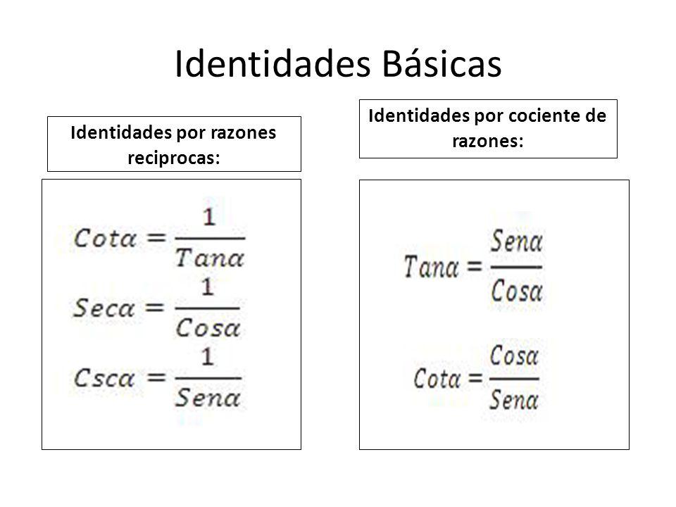 Identidades Básicas Identidades por cociente de razones: