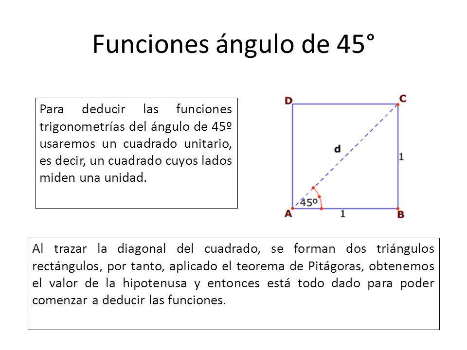 Funciones ángulo de 45°