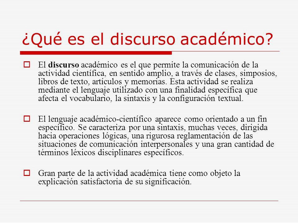 ¿Qué es el discurso académico