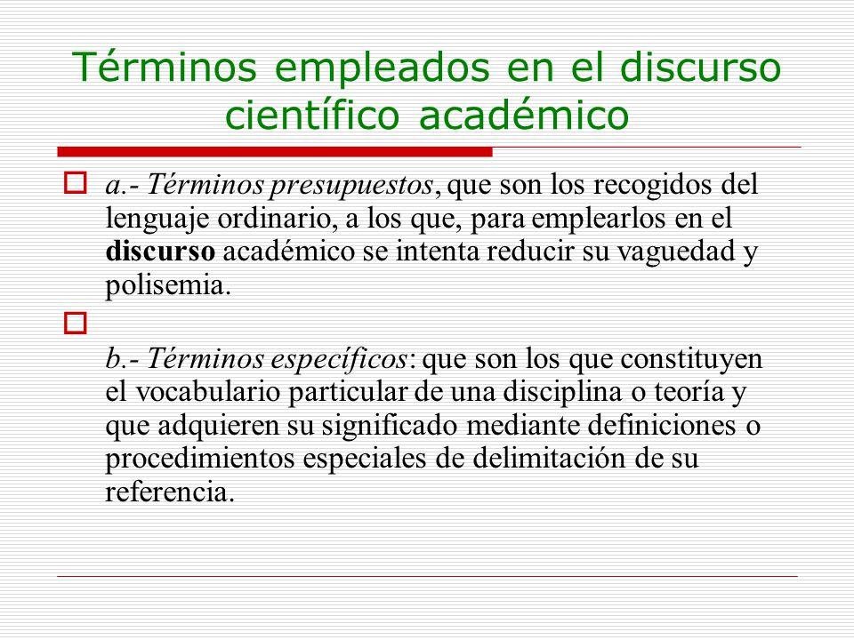 Términos empleados en el discurso científico académico