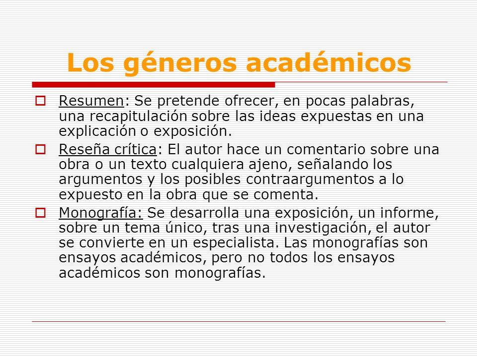 Los géneros académicos