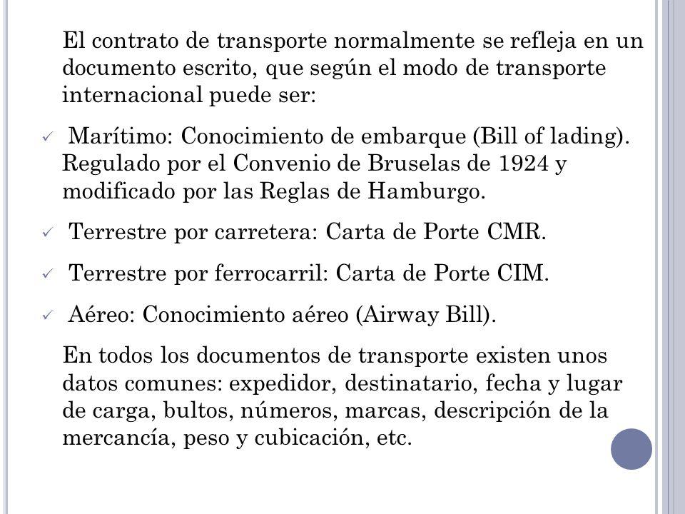 El contrato de transporte normalmente se refleja en un documento escrito, que según el modo de transporte internacional puede ser: