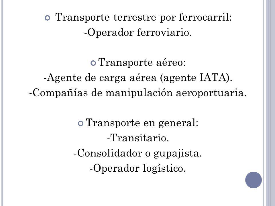 Transporte terrestre por ferrocarril: -Operador ferroviario.