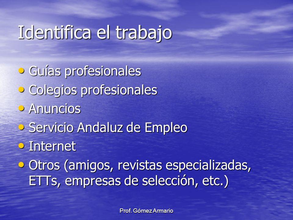 Identifica el trabajo Guías profesionales Colegios profesionales