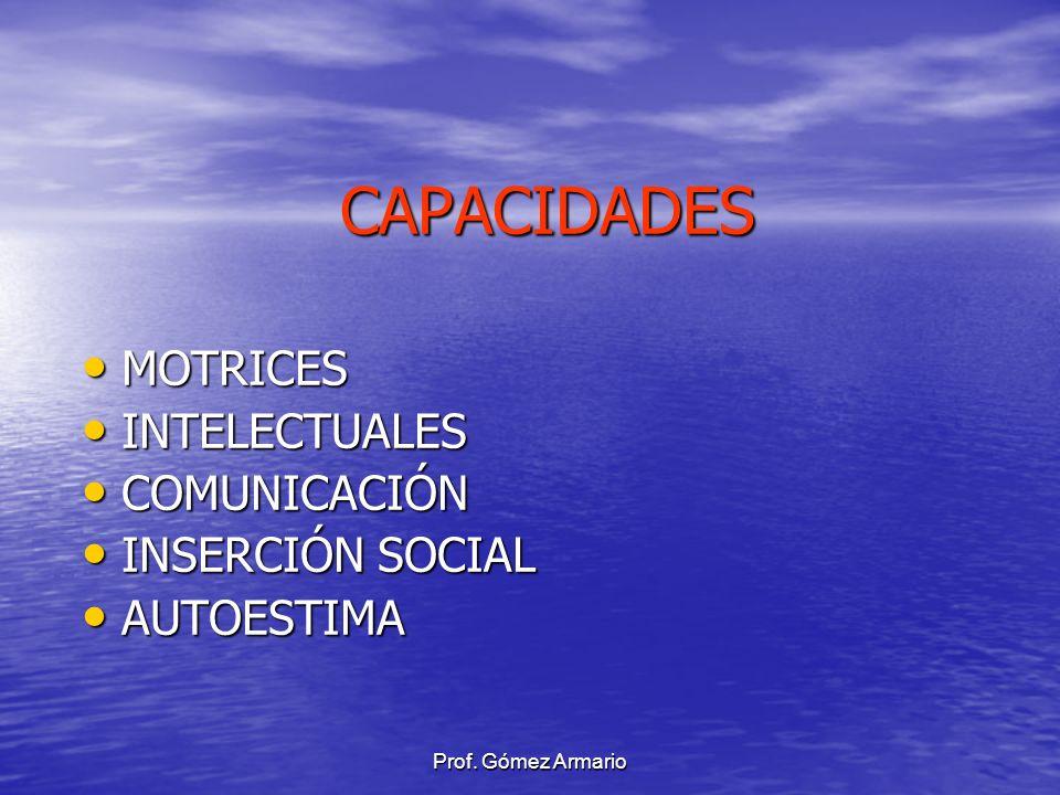 CAPACIDADES MOTRICES INTELECTUALES COMUNICACIÓN INSERCIÓN SOCIAL