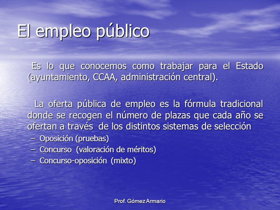 El empleo público Es lo que conocemos como trabajar para el Estado (ayuntamiento, CCAA, administración central).
