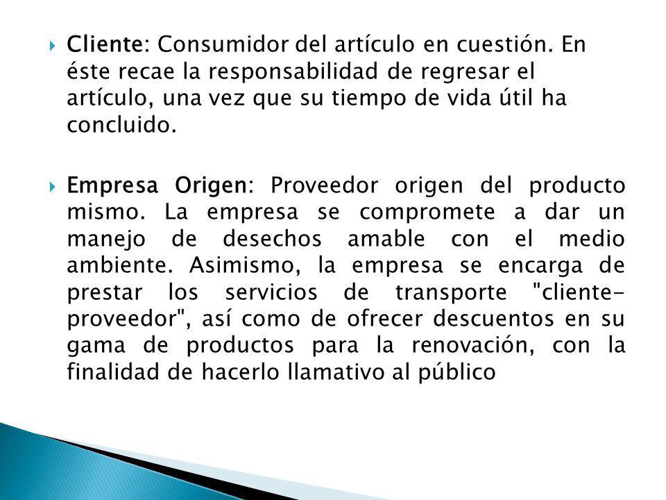 Cliente: Consumidor del artículo en cuestión