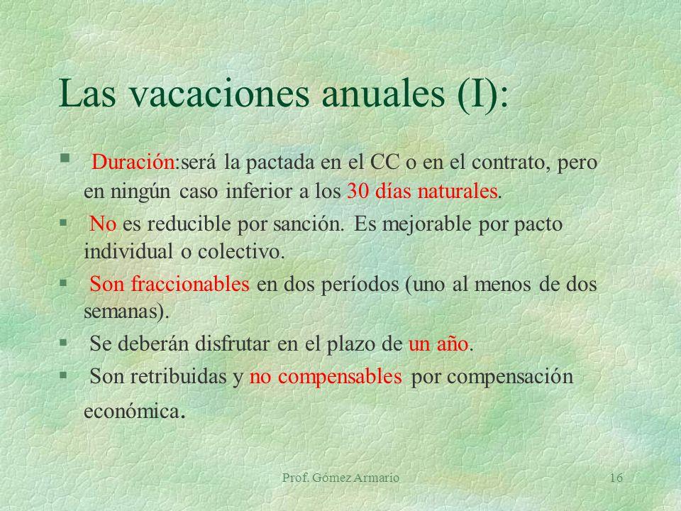 Las vacaciones anuales (I):