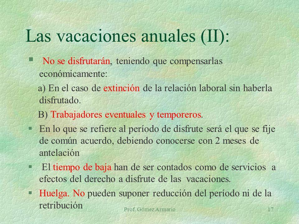 Las vacaciones anuales (II):