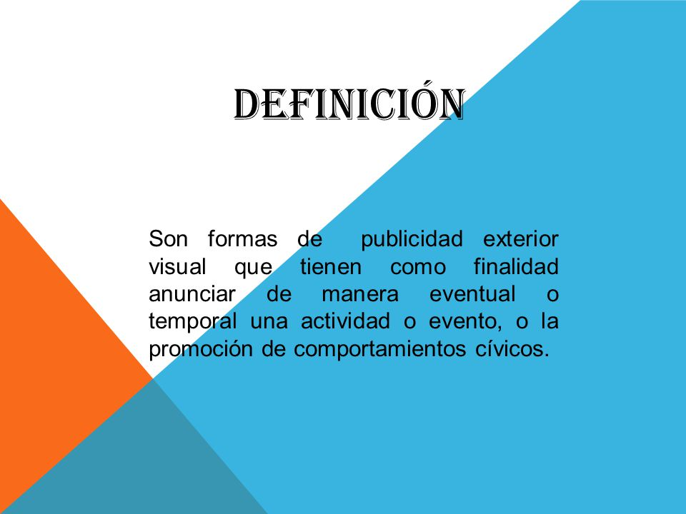 Pendon publicitario ppt video online descargar for Definicion exterior
