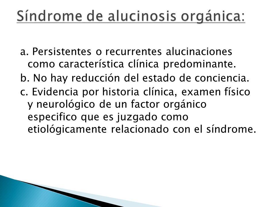 Síndrome de alucinosis orgánica:
