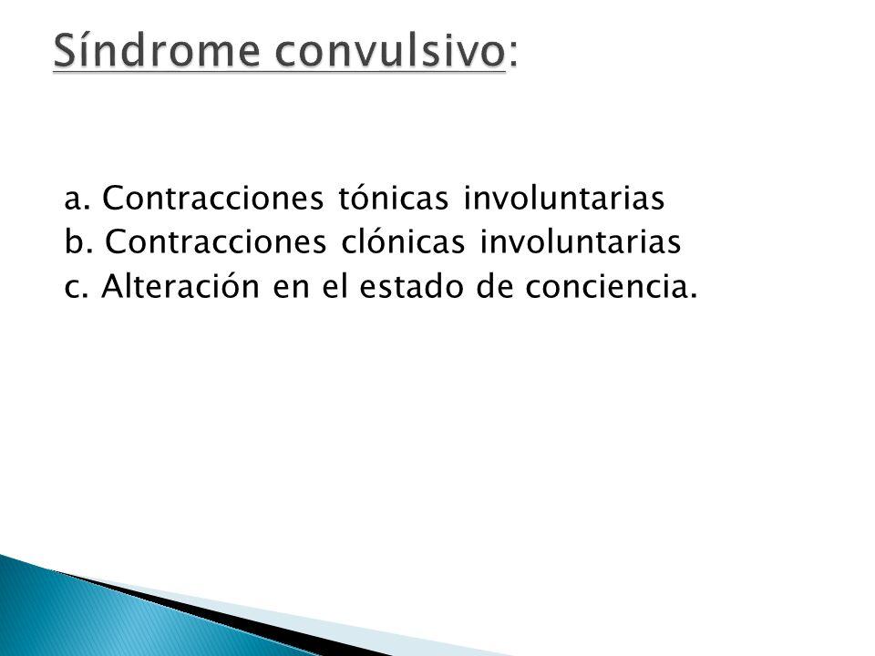 Síndrome convulsivo: a. Contracciones tónicas involuntarias